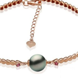 Bracelet en Or jaune 18k tourmalines rouges et perle de Tahiti 8-9 mm AAA