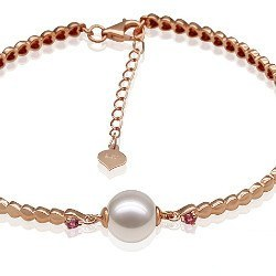 Bracelet en Or jaune 18k tourmalines rouges perle d'Akoya 8,5-9 mm AA+ ou AAA