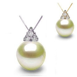Pendentif or 18k et diamants avec perle d'Akoya AAA