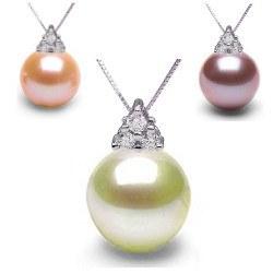 Pendentif Argent 925 et diamants avec perle d'Eau Douce DOUCEHADAMA