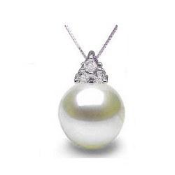 Pendentif Argent 925 et diamants avec perle d'Akoya AAA
