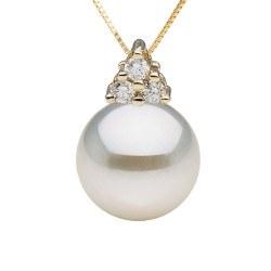Pendentif or 14k et diamants avec perle d'Akoya AAA