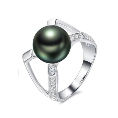 Bague Argent 925 et zirconiums avec perle de Tahiti qualité AAA