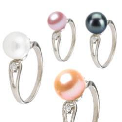 Bague Argent 925 et diamants avec perle d'Eau Douce AAA