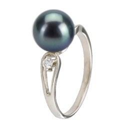 Bague Argent 925 et diamants avec perle d'Eau Douce Noire AAA