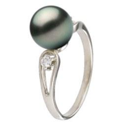 Bague Argent 925 et diamants avec perle noire de Tahiti qualité AAA