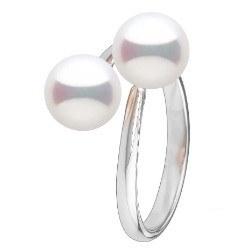 Bague Toi et Moi, Argent 925 2 perles d'eau douce de couleur au choix