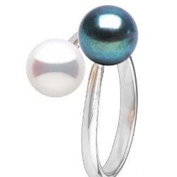 Bague Toi et Moi, Argent 925 avec 2 perles d'eau douce noire et blanche