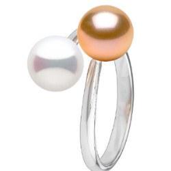 Bague Toi et Moi, Argent 925 2 perles d'eau douce blanche et pêche