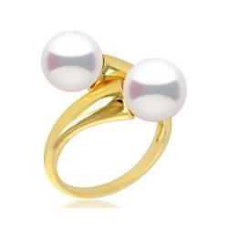 Bague Toi et Moi, Or 18k 2 perles d'eau douce 8-9 mm DOUCEHADAMA, couleur au choix