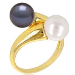Bague Toi et Moi, Or 18k deux perles d'eau douce 8-9 mm AAA couleur au choix