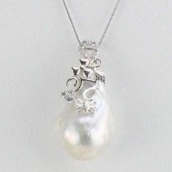 Pendentif Chaine 40 cm Argent 925 Perle Soufflée 23x20 mm blanche cristal Swarovski