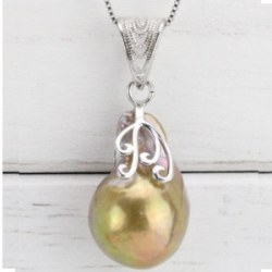 Pendentif et Chaine 45 cm en Argent 925 Perle Soufflée d'Eau Douce Dorée 30x15,5 mm